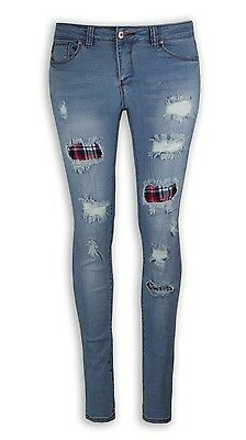 NEW Women Fashion Ripped Flannel Color Denim Blue Jeans Pants Distressed