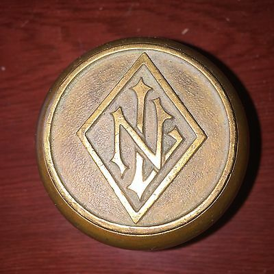 Antique Heavy Solid  Heavy Bronze With Emblematic  N L Letters Door Knob