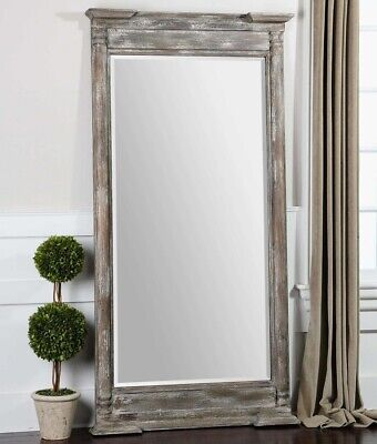 "74""H French Country Tuscan Distressed Wood Floor Wall Full Length Mirror LARGE"