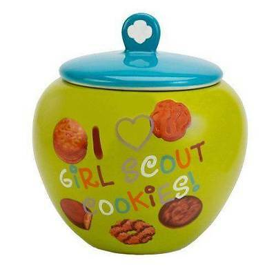 Girl Scouts I Love Girl Scout Cookies Cookie Jar 28 oz Small ~ EXCELLENT!