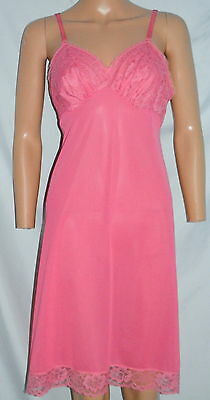 Vintage VANITY FAIR Pink Nighgown Slip Silky Nylon Lace Trimmed Size 34 S Small