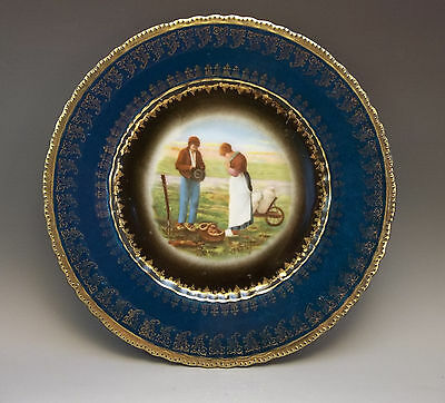 Antique Royal Vienna Plate The Angelus Beehive Portrait Cabint Plate Teal Blue