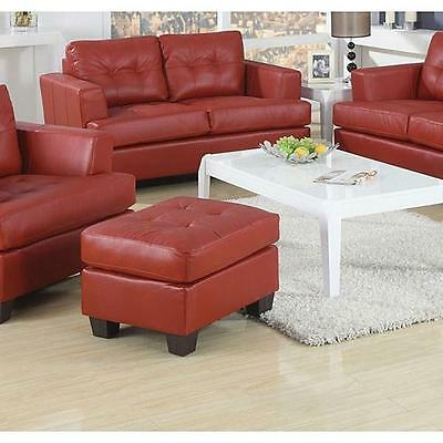 Red Bonded Leather Ottoman Bench