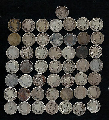 """ROLL OF BARBER DIMES (50) 90% Silver  """"WORN/DAMAGED""""  LOT A5"""