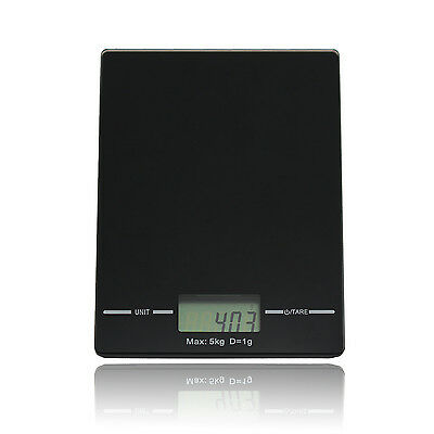 5kg Modern Black Digital LCD Electronic Kitchen Cooking Food Weighing Scales UK