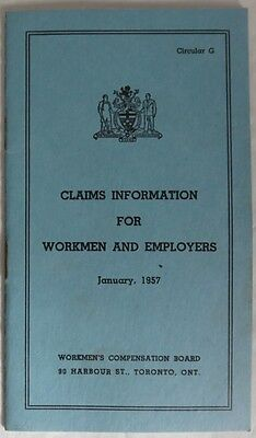 1957 Workmen's Compensation Board Claims Information Booklet         (Inv12714R)
