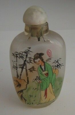 Asian Glass Scent Snuff Bottle Double Sided Reverse Painted (Lot #1)