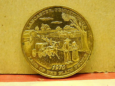 Lancaster Land of the Plain People USA  RED ROSE COIN CLUB 1970 MEDALLION Medal