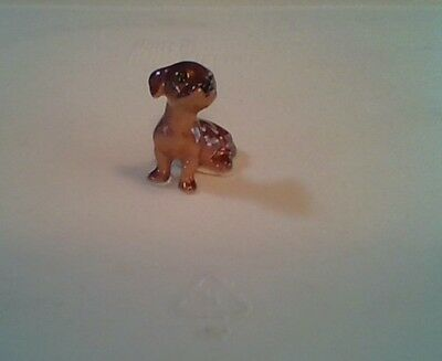 Chocolate Brown Mixed/breed Mutt dog/puppy miniature Figurine. Porcelain Tiny
