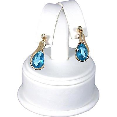 White Faux Leather Earring Display Counter Stand