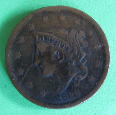 1839 Large Coronet Usa One Cent- Fine