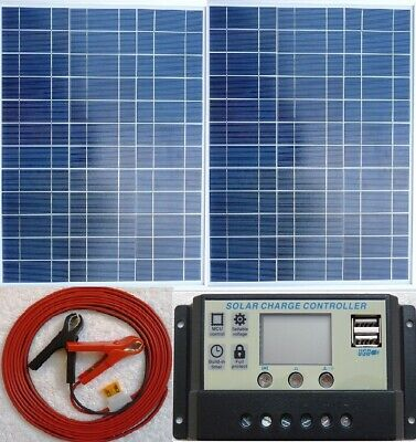 2 x 50w = 100w Solar Panel +4m cable +10A Charger Controller for 24v 12v Battery