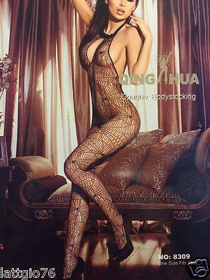 Bodystocking intimo donna sexy lingerie catsuit rete nero body tutina DS79897