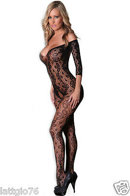 Bodystocking Sexy Lingerie Intimo Donna Rete Catsuit  Body Hot Aperta DS79870