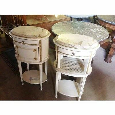 Rare pair of French oval painted bedside tables     a14215
