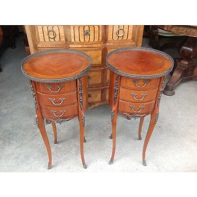 Pair of French round satinwood side tables     a14213