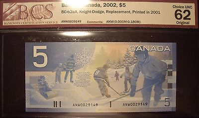 Canada BC-62aA 2001 $5 Replacement ANW002914 - BCS ChUnc-62