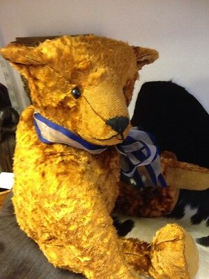 """vintage Straw Filled Golden Large  teddy bear . 22"""" Tall Approx ."""