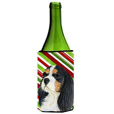 Cavalier Spaniel Candy Cane Holiday Christmas Wine bottle sleeve Hugger 24 oz.