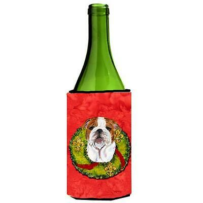 Bulldog English Christmas Wreath Wine bottle sleeve Hugger 24 oz.