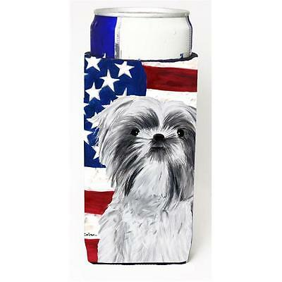 Usa American Flag With Shih Tzu Michelob Ultra bottle sleeves For Slim Cans 1...