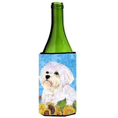 Carolines Treasures Maltese In Summer Flowers Wine bottle sleeve Hugger 24 oz.