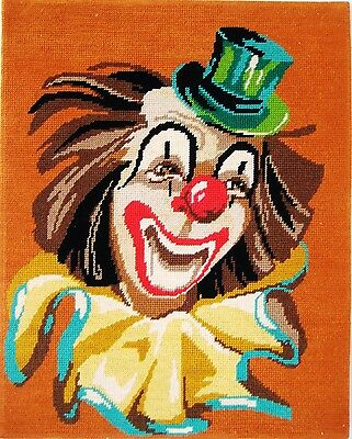 Unframed Completed Needlepoint 15''1/2 X 19''3/4  Clown Model