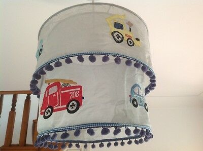 Children Boys Ceiling Light Shade Blue Grey Cars Transport