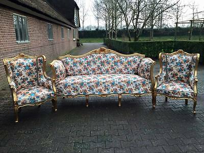 Antique Sofa With Two Chairs In Unique Louis Xvi Style