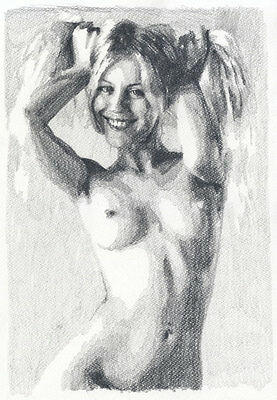 J. Misioteu - Contemporary Graphite Drawing, Nude Study