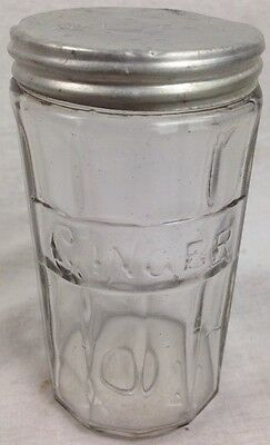 Antique VINTAGE Ginger Jar / Container - Hoosier / Cabinet Ribbed-Glass Style