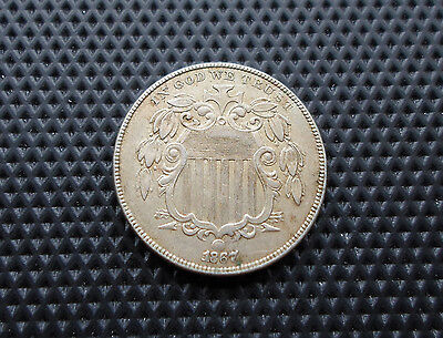 1867 US 5 Cents Coin Nickel Beauty Grade Very Early United States Coin