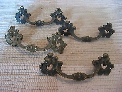 "Vintage /Antique 4 METAL DRAWER HANDLES 5.25"" Scroll Style  Art Nouveau w/screws"