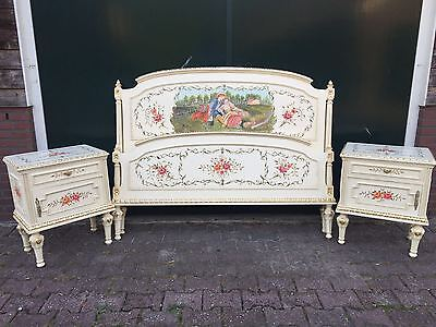 Antique Bed With Two Night Stands Beautifully Decorated In French Style.