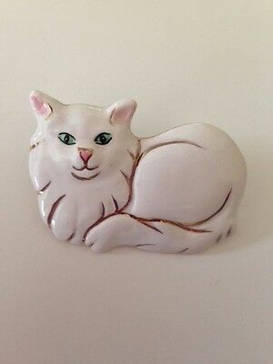 White Cat Pin Brooch Handmade Porcelain Jewelry Christmas Gift Kitty Rescue Pets