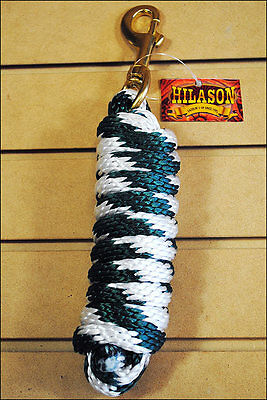 H Green & White Hilason Braided Polypropylene Western Horse Show Tack Lead Rope