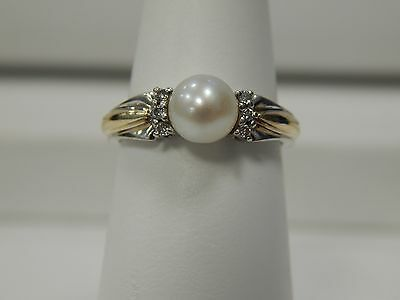 14K Yellow & White Gold  Pearl and Diamond Ring