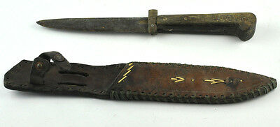 Vintage Fixed Blade Knife with Leather Sheath Hunting Fishing Survival Dagger