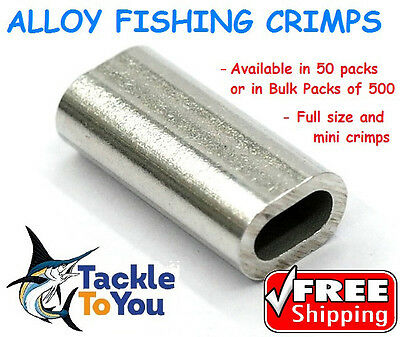 ALLOY FISHING CRIMPS x50 x500 0.7,1,1.2,1.3, 1.5, 1.7, 2.0, 2.3mm FREE SHIPPING!