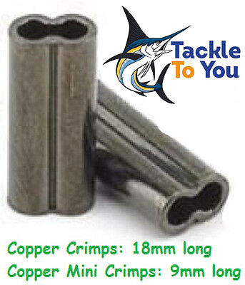 COPPER FISHING CRIMPS x50 1, 1.3, 1.5, 1.6, 1.9, 2.2,2.8,3.3mm - FREE SHIPPING!!