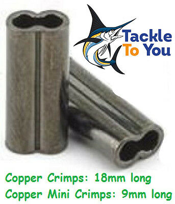 COPPER FISHING CRIMPS x50 or x500 1, 1.3, 1.5, 1.7, 2.0, 2.3mm - FREE SHIPPING!!