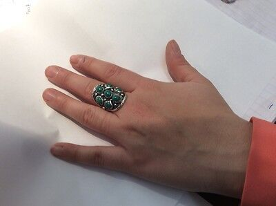 carol kee sterling ring with green turquoise, 8 1/2