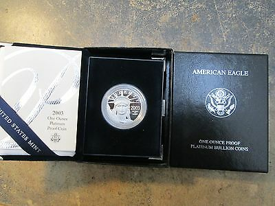 2003 American Eagle PLATINUM PROOF 1 OZ 100 DOLLAR WITH BOX AND COA PERFECT