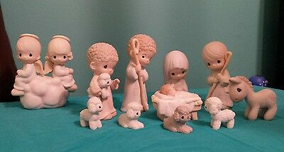 Precious Moments 9 Piece Nativity 104000 + Donkey and Angels But Love Goes on