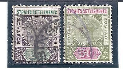 STRAITS SETTLEMENTS...# 86-87...1892/99...Used but FAULTY...SCV $ 10.50