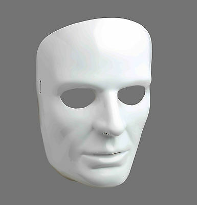 Male White Front Face Plastic Mask The Following Mime Masquerade Mardi Gras