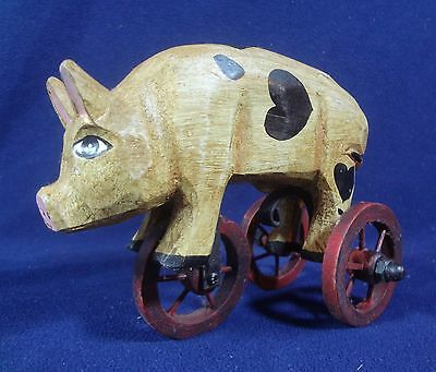 Wooden Pig On Tricycle Rolling Moving Wheels Country Farmhouse Primitive Decor