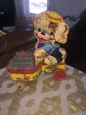 Fisher Price Fido Zilo 707 Vtg 1950's Wooden Wood Musical Pull Toy Dog Xylophone