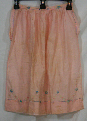 1950s EMBROIDERED PINK COTTON ORGANDY LITTLE GIRLS CHILDS SKIRT