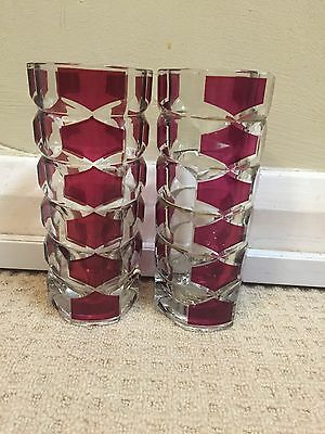 Lovely Vintage French Cranberry Crystal Art Glass Cut Glass Vase Art Deco